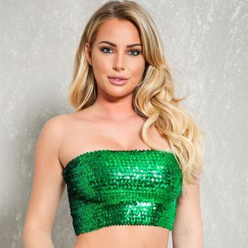 Sexy Gold Sequin Strapless Dressy Crop Top Women Shiny Stretch Party Clubwear Sequin Tube Top Bandeau Tank Top Dance Costumes