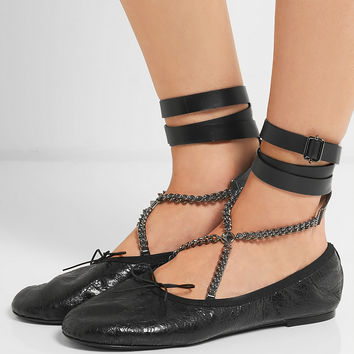 Valentino - Chain-embellished cracked glossed-leather ballet flats