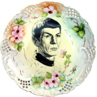 Spock Portrait Plate -  Altered hand painted Plate 8.5""