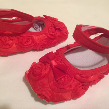 Baby Girl Infant Dress Red Rose Prewalker Crib Shoe with Velcro Ankle Strap