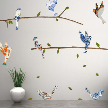 China Plate Birds & Branches Wall Decals