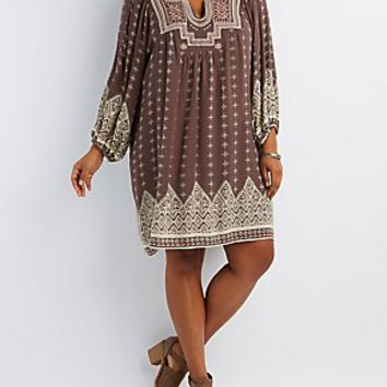 PLUS SIZE BORDER PRINT SHIFT DRESS
