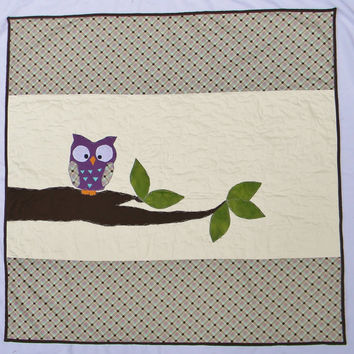 Ready to ship - Purple Owl crib quilt - Blanket - Bedding item - Baby girl quilt - Baby girl blanket - Nursery - Baby shower