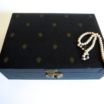 Mid Century Black and Gold Jewelry Box with Red Velvet and Satin Interior - Floyd Jones Vintage