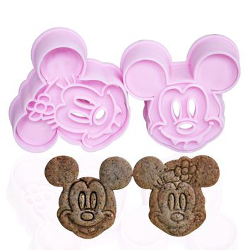2 pcs / set cookie cutter Plastic lovely mouse  Cartoon cat Cookie Cutter Mold Biscuit Stamp Mould Sugar Craft Cake  Tools