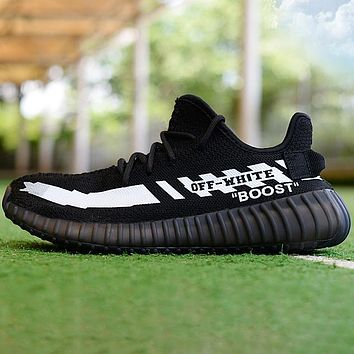 Adidas Yeezy Off White Contrast Shoes  Boots Sneakers Black