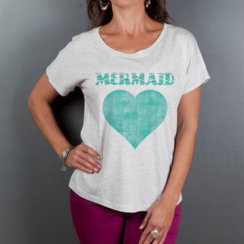 Women's Clothes, Loose Fitting Mermaid Boho Tops, Women's Off the Shoulder T Shirt,  Scoop Neck Graphic Tee, Vintage Distress Graphic