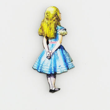 Alice in wonderland wood brooch (choose design)