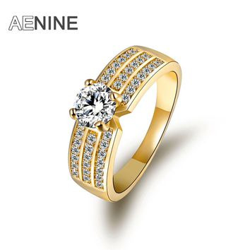 AENINE Brand Ring Gold Color Copper Wedding Jewelry Rings 0.75 Carat Princess Cut Cubic Zirconia Luxury Anel R170080307G