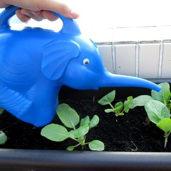 Adorable Elephant Shaped Plastic Watering Can for Gardening in Blue | Animal Themed Home Decor