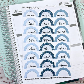 Scalloped Date Cover Planner Stickers | Date Cover Scallops Blue