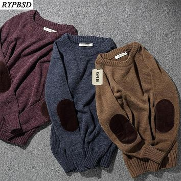Retro Sweaters Male College Wind Corduroy Patch Sweater Splicing Collision Color Men's Christmas Sweaters Fashion Sweater