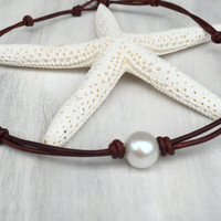 Leather pearl necklace, pearl necklace, leather necklace, pearl on leather, leather and pearls, leather pearl choker necklace