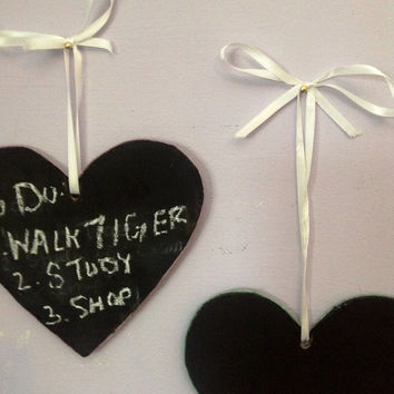 Set of two heart shaped chalkboards