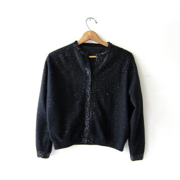 Vintage Black Beaded w Sequins Cardigan. Cropped Cardigan Sweater. Lambswool and Angora sweater.