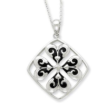 Wishing You Luck, Four Leaf Clover Necklace in Silver