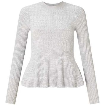 Grey Long Sleeved Godot Peplum Knitted Top - Tops - Apparel