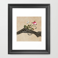 One Gun, One Rose, Two Moths Framed Art Print by Eugenia Loli