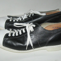 Mens Vintage Black and  White Leather Bowling Shoes Size 12d