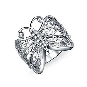 Open Band Butterfly Filigree Sterling Silver Ring