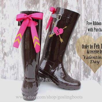 Custom Monogrammed Chocolate Gloss Rain Boots with Your Choice of Bows