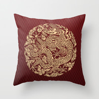 Gold Dragon Ball Shen long Art Decorative Throw Pillow Cushion case by Three Second