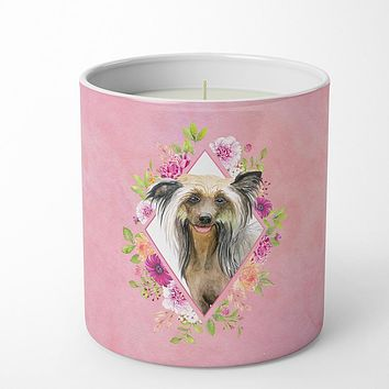 Chinese Crested Pink Flowers 10 oz Decorative Soy Candle CK4130CDL
