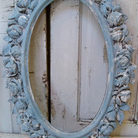Large French blue ornate frame wall decor distressed roses vintage shabby cottage piece Anita Spero