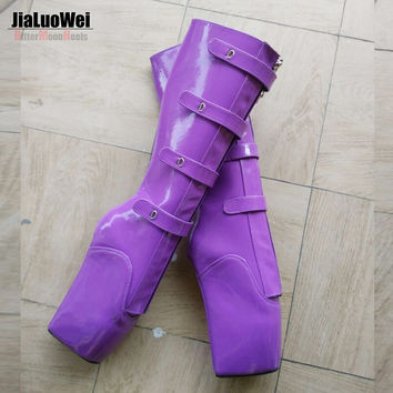 "Brand New 18cm/7"" Extreme High heel fashion sexy fetish knee high Boots Wedges Heelless Zip Buckle patent leather ballet boots"