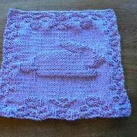 Hand Knit Lovely Lavender Beautiful Bunny Dish Cloth or Wash Cloth