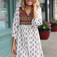 Mayan Printed Babydoll Dress {White Mix}