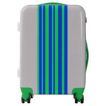 Blue and Green Stripes Luggage