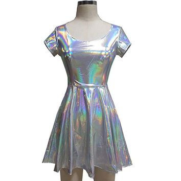 Holographic High Waisted Flare Skater Dress