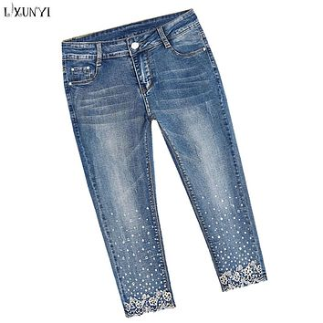 LXUNYI Capri Pants Women Plus Size Skinny jeans Woman High Waist Ripped Rhinestone Stretch Pencil Jeans Calf Length Pants XS-8XL