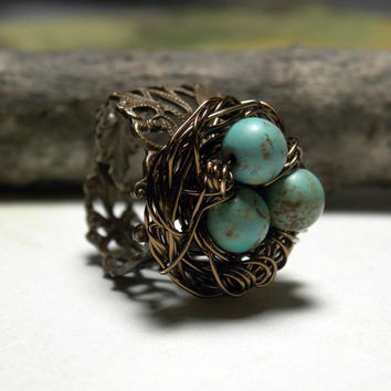 Vintaj Brass Wire Wrapped BlueGreen Magnesite Bird by LunaJewelry