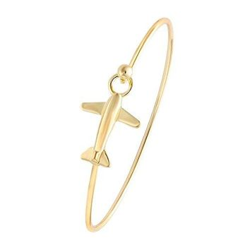 NOUMANDA Easy Open Gold Silver and Rose Gold Airplane Hook Bangle Cuff Jewelry