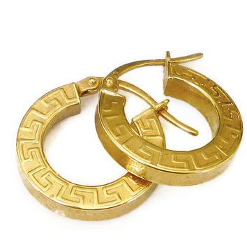Milor Italy 14K Gold Hoop Earrings Greek Keystone Design Vintage Jewelry