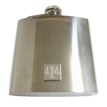 Silver Toned Etched Scale of Justice Law 6 Oz. Stainless Steel Flask