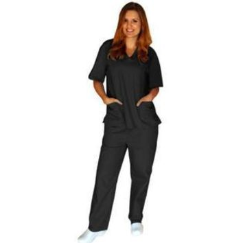 Nursing Men/Women Solid Scrub Set Top Pants Hospital Uniform NWT XS-5XL