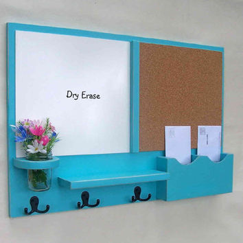 Mail Organizer -  Cork Board - White Board Mail Organizer -  Coat Rack - Jar Vase - Wood