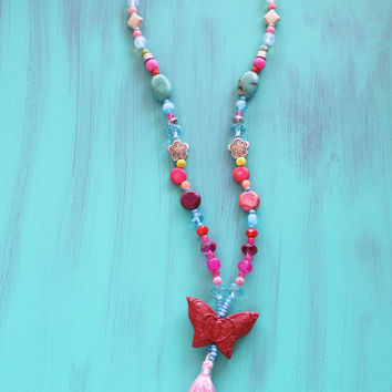 Butterfly girl's necklace, silk tassel with assorted beads