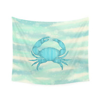Wall Tapestry, nautical wall art, blue crab wall art, picnic blanket, beach blanket, sofa throw, nautical decor, aqua decor, wall hanging
