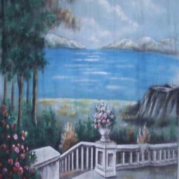 Lake and Porch Hand Painted Backdrop Muslin - 10x10 - LCMSS177 - LAST CALL
