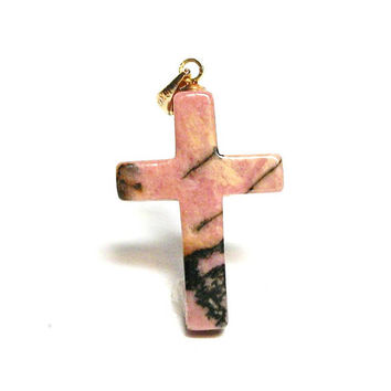 "Rhodonite, rhodonite cross, cabochon cross, religious, pink black, christian jewelry, faithful cross, ""Faithful Cross"""