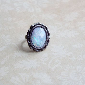 Antique White Opal Faceted Acrylic Cabochon Adjustable Statement Ring