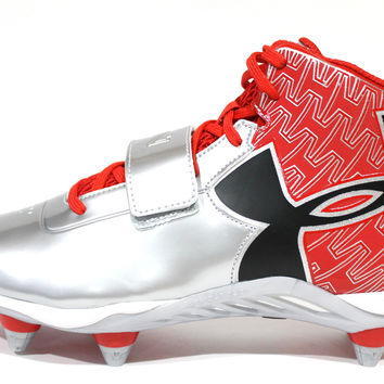 Under Armour Men's C1N Mid D Red/Silver Football Cleats 1264317-601