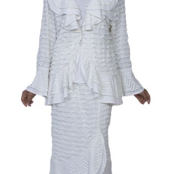 Hosanna 3994  - Modest Plus Size Tea Length Off White Dress 3 Piece Jacket