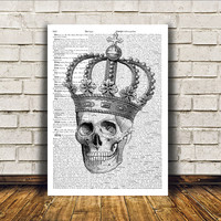 Macabre art Crowned skull poster Gothic decor Anatomy print RTA67