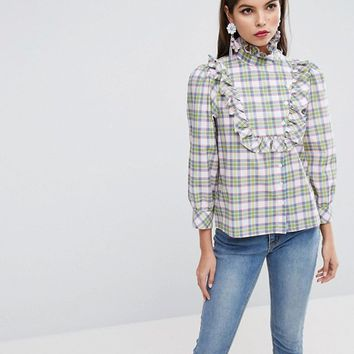 ASOS Check Shirt with Ruffle Bib Detail at asos.com