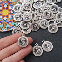 Silver Sun Pendant, Sunburst Pendant, Flower, Sunburst Charm, Sun Charm, Flower Charm, Coin Charm, Disc, Boho, Antique Silver Plated 3pc